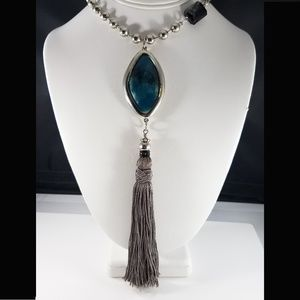Chico's Tassel Necklace, Blue Pendant, Gray Fringe